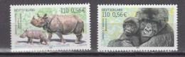Germany Deutschland 2001.2V,set,berggorilla,monkey,aap,affe,singe,mono,scimmia,rhino.neushoorn,nashorn,MNH/PostfrisA2759 - Apen