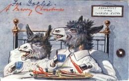 W.R. Ellam -   Two Donkeys Having Breakfast In Bed : A Merry Christmas   -   9321 - Tuck, Raphael