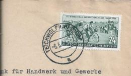 Cycling.Cyclisme.Radfahren.Stamp 24c,6th International Cycling Event For Peace 1954.Sport.Bike.Sport.Bicycle. 2scan - Radsport