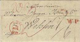 1839- Lettre De LIEGE  Pour Wohlen ( Suisse )  Taxes Encre Rouge  + W. P. ( West Preussen ) - Belgien