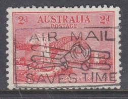 Australia:George V 1932, Sydney Bridge 2d, Used - AIR MAIL SAVES TIME Slogan - 1913-36 George V : Heads