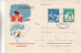 République Démocratique - Lettre FDC De 1952 - Oblit Oberhof - Sport D'hiver - Saut - Langlauf - Valeur 15 € ( 10 + 5 ) - [6] Oost-Duitsland
