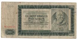 BOEMIA E MORAVI 1000 KRONEN 1942 PRAG  LOTTO 1474 - Tchécoslovaquie