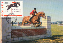 D25756 CARTE MAXIMUM CARD 1967 POLAND - HORSE JUMPING CP ORIGINAL