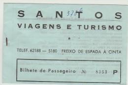 Ticket - Santos(Freixo De Espada à Cinta) - Viagens E Turismo - Miranda-Porto-Miranda - 1989 - Europa