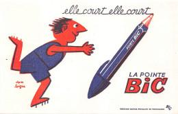 """¤¤  -  Buvard Publicitaire D´après L´Illustrateur """" SAVIGNAC """"  -  La Pointe """" BIC """"  -  ¤¤ - Buvards, Protège-cahiers Illustrés"""