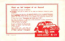 """¤¤  -  Buvard Publicitaire  -  Voiture """" RENAULT 4CV """"  -  ¤¤ - Buvards, Protège-cahiers Illustrés"""