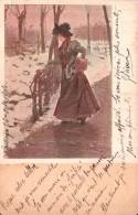 ILLUSTRATION FEMME EN MANTEAU DANS PAYSAGE D'IVER CARTE PRECURSEUR CIRCULEE 1904 - Illustrators & Photographers