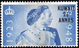 """KUWAIT - Scott #82 The 25th Wedding Anniversary Of King George VI  """"Surcharged"""" / Used Stamp - Great Britain (former Colonies & Protectorates)"""