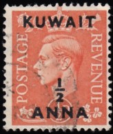 """KUWAIT - Scott #93 King George VI  """"Surcharged"""" / Used Stamp - Great Britain (former Colonies & Protectorates)"""
