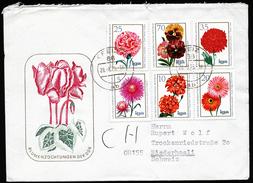 A4246) DDR Brief Mit Satz Blumenzüchtungen Mi.2070-2075 Von Greiz 28.8.75 In Die Schweiz - Pflanzen Und Botanik