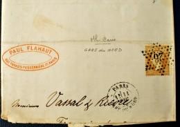 Lettre France - Etoile De Paris 26 - GARE DU NORD (Indice 5) - 1849-1876: Periodo Classico