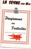 LA SEYNE SUR MER-1964- PROGRAMME DES FESTIVITES - JOHNNY HALLIDAY ET HENRI TISSOT AU THEATRE DE VERDURE - Programmes