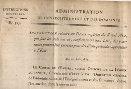 N° 583. CAS DE POURSUITE. 1812. Administration Enregistrement Domaines.  2 FEUILLETS. 5 SCANS. - Décrets & Lois