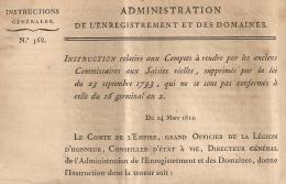 N° 568. COMMISSAIRES AUX SAISIES. 1812. Administration Enregistrement Domaines.  4 FEUILLETS. - Décrets & Lois