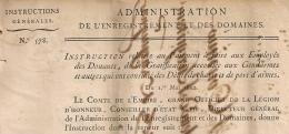 N° 577, 578. LOCATIONS VERBALES Et GRATIFICATION GENDARMES 1812. Administration Enregistrement Domaines.  2 FEUILLETS. - Décrets & Lois