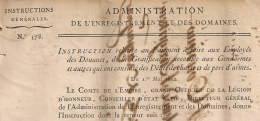 N° 577, 578. LOCATIONS VERBALES Et GRATIFICATION GENDARMES 1812. Administration Enregistrement Domaines.  2 FEUILLETS. - Gesetze & Erlasse