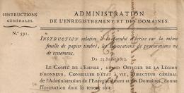 N° 591 REVOCATION PROCURATIONS TESTAMENS 1812. Administration Enregistrement Domaines.  1 FEUILLET. - Gesetze & Erlasse