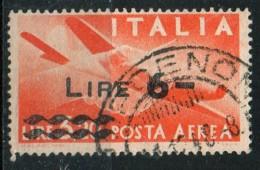 """PIA - ITA - Specializzazione : 1947: Posta Aerea """"Democratica""""  £ 6/3,20  Violetto  - (SAS 135 - CAR 12) - 6. 1946-.. Repubblica"""