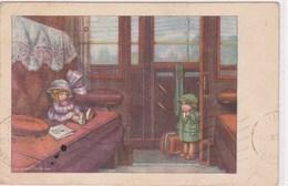 Illustrateur Bertiglia Train Wagon Petit Garcon Et Petite Fille Dans Une Meme Voiture Ne Voulant Pas La Reveillée - Bertiglia, A.