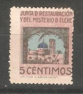 Viñeta Junta De Restauracion Del Misterio De Elche. - Vignettes De La Guerre Civile