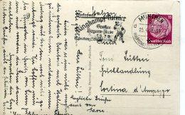 13443 Germany Dt. Reich P.karte Mit Werbestempel Munchen Ringkampf  Turnier 25.4.1938,(michel 520) Gelaufen Nach Italien - Briefe U. Dokumente