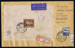 Deutsche Reich , Mischfrankatur Block 4x + 606 EinschreibenBad Warmbrunn ->   Beograd,  Zensur - Luftpost
