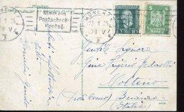 13450 Germany D.r.1925 Reich Adler U.50 Jahre Weltpostverein Mi-356+368 23.1.1925, Gelaufen Nach Italien - Deutschland