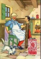 13465 Italia,  Cartoon, Card Ballerini &fratini,  Pinocchio (with Stamp Pinocchio !!) (1097/1) Geppeto - Märchen, Sagen & Legenden