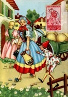 13470 Italia,  Cartoon, Card Ballerini &fratini,  Pinocchio (with Stamp Pinocchio !!) (1097/5) - Märchen, Sagen & Legenden