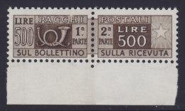 ITALIA 1956 - PACCHI POSTALI - 500 L. SEPPIA N. 80/V BORDO DI FOGLIO - NUOVO CON GOMMA INTEGRA MNH** - Colis-postaux