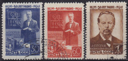 5000. Russia USSR 1945 Physicist Alexander Stepanovich Popov, Used (o) Michel 965-967 - 1923-1991 URSS
