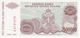 BILLETE DE CROACIA DE 500000 DINARA DEL AÑO 1993 (BANKNOTE) SIN CIRCULAR-UNCIRCULATED - Croacia
