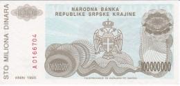 BILLETE DE CROACIA DE 100000000 DINARA DEL AÑO 1993 (BANKNOTE) SIN CIRCULAR-UNCIRCULATED - Croacia