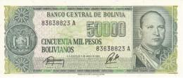 BILLETE DE BOLIVIA DE 50000 PESOS BOLIVIANOS DEL AÑO 1984 CON RESELLO DE 5 CENTAVOS DE BOLIVIANO (BANKNOTE) SIN CIRCULAR - Bolivia
