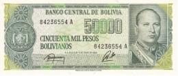 BILLETE DE BOLIVIA DE 50000 PESOS BOLIVIANOS DEL AÑO 1984 SIN RESELLO DE 5 CENTAVOS DE BOLIVIANO (BANKNOTE) SIN CIRCULAR - Bolivia