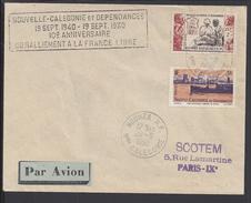 """Nelle CALEDONIE - Enveloppe """"10ème Anniversaire Du Ralliement à La France Libre"""" Oblitération Nouméa Du 20-9-1950 - B/TB - Nueva Caledonia"""