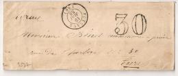 Enveloppe De PUTEAUX Seine 1858. TAXE 30. AMBULANT PARIS A CHERBOURG Au Verso. - 1849-1876: Classic Period
