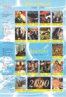 HOJA BLOQUE CON 18 SELLOS DE NEVIS DEL MILLENNIUM 1990 AT 2000 (NUEVOS-MINT) - Sellos
