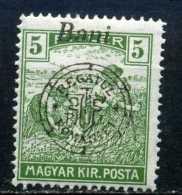 RARE 1919 KIR MAGYAR HUNGARY 5 FILLER DOUBLE OVERPRINT OCCUP. ROMANA-BANI+REGATUL STAMP Timbres MINT - Usati