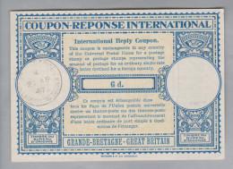 GB Ganzsache Coupon Réponse International 1947-04-21 6 D. - Otros