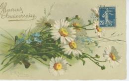 "FLEURS - Jolie Carte Fantaisie Marguerites Et Myosotis "" Heureux Anniversaire "" Signée CATHARINA KLEIN - Klein, Catharina"