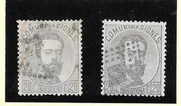España- Dos Sellos De 20 Cts De Amadeo De Color Gris Y Color Lila Oscuro - 1872-73 Reino: Amadeo I
