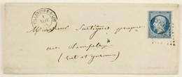 Lettre 1858 Villeneuve Sur Lot --> Temple / Lot Et Garonne, Affr. 20c Type Napoleon YT 14A Losange PC 3623 - Marcophilie (Lettres)