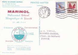 1963 - CP MARINOL  De Johannesburg Vers Montreux-Château, France - Danses Zoulou - Afrique Du Sud (1961-...)