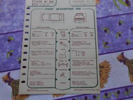 Fiche Technique Citroën DS  19 1eme Partie :format 21cm X 27cm - Automobile - F1