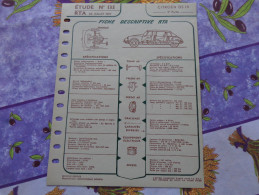 Fiche Technique Citroën DS  19  3eme Partie :format 21cm X 27cm - Automobile - F1