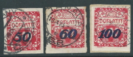 1924 CECOSLOVACCHIA USATO SEGNATASSE 3 VALORI - CZ8 - Segnatasse
