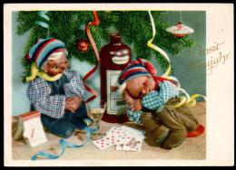 6696 - Alte Glückwunschkarte - Neujahr - Puppen Zwerge - Herbert Schulze Leipzig - DDR 1955 - TOP - Año Nuevo