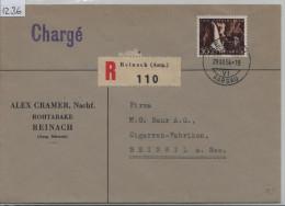 1954 Pro Patria B69 600 Charge R-Brief Recommandee - Von Reinach AG (Alex Cramer Rohtabake) Nach Beinwil A./S. - Pro Patria